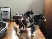 Breyer Clydesdale Horse Lot With Hand Made Leather Harness