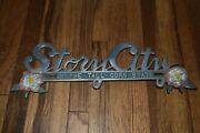 Rare Vintage Story City Ia Tall Corn State Advertising License Plate Topper Sign