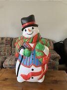 Christmas Snowman Blow Mold Blue Vest Cane Top Hat Mittens Scarf Pipe 43andrdquo