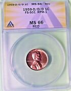 Awesome 1959-d/d/d Fs-501 Rpm-1 Anacs Ms 66 Red Lincoln Cent 2nd Finest @ Ana