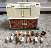 Vintage Fisher Price Play Family Farm Barn House Animals Toy