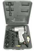 17 Piece 1/2 Inch Drive Air Impact Wrench 230fp With Metric Socket Set And Case