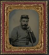 Photo Civil War Confederate In Uniform With Company B Hat And Saber Sword
