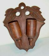 Victorian Wall Wooden Match Holder Carved Leaves 7 Tall 5.75 Across Vintage