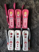 Lot Of 6 Nintendo Wii Remote Motion Plus Peach Toad Tested