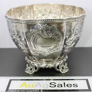 Antique 1848 Wood And Hughes New York 90 Coin Silver Floral Repousse Footed Bowl
