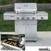 Nexgrill Deluxe 4 Burner Gas Barbecue Stainless Steel With Side Burner And Cover