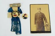 Antique Connecticut Firefighting Committee Badge And Cabinet Photograph Id'd