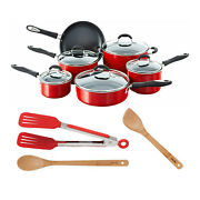 Cuisinart 55-11r Advantage Non Stick 11 Piece Cookware Set Red With Nylon Tong