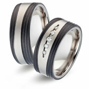 Titanfactory Titan Wedding Rings With Tf127 Carbon 5 Brill. Set 0.09 Ct. W/ Si