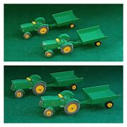Vintage Lesney Matchbox Pair Lot No. 50 And 51 John Deere Tractor And Wagon Grey