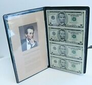 2003 Us 5 Dollar Uncut Sheet Of Star Notes With Presentation Folder And Coa