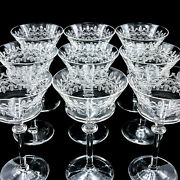 9 Etched Crystal Glass Fostoria Waterford Wine / Martini Glasses - 6 Ab12