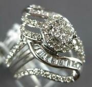 Large .77ct Diamond 14kt White Gold Round And Baguette Flower Leaf Engagement Ring