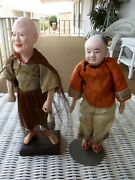 2 Vintage 1920and039s Chinese Composition Doll Lot Fisherman Statue Museum Figures