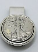 1935 Walking Liberty Coin 925 Solid Sterling Silver Money Clip