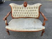 Antique Mahogany Settee Loveseat Sofa Bench Victorian Inlaid Cameo Tufted Old