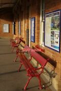Photo Oakham Railway Station Brightly Painted Seats Bask In The Sunshine On A P