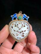 Ly Silver Gilt Inlaid Hetian Jade Chinese Rare Antique Pendant Jewelry Accessory