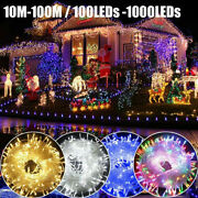 100-1000led Solar String Fairy Lights Mains Plug In Outdoor Party Xmas Tree Lamp