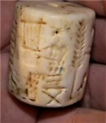 32mm Ancient Near Eastern Stone Cylinder Seal Bead 3000+ Years Old S1512