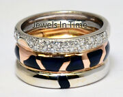 Nouvelle Bague Ladies 18k White And Rose Diamond And Enamel Ring 5.5
