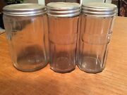 Vintage Hoosier Cabinet Canister Tea And 2 Spice Jars Ginger And Cloves Clear Glass