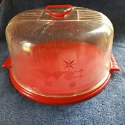 Mid Century Vtg Lustro-ware Cake Cover Set Red Clear Locking Usa L-82 12.5 Plstc