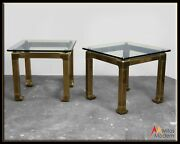 60s Mid Century Modern Mastercraft Pair Of Heavy Brass And Glass End Side Tables
