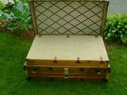 Antique Cabin Steamer Trunk B,bandb Maker Brass Lock And Key And Tray Flat Top Chest