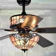 Style 6 Light Ceiling Fan Vintage Antique Stained Glass Lamp 5 Blade 52