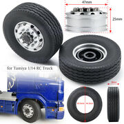 2/4pcs Front Wheel Rims + Rubber Tyres For 114 Tamiya Scania Rc Tractor Trucks
