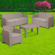 Flash Furniture-4 Piece Outdoor Faux Rattan Chair Loveseat Sofa And Table S...