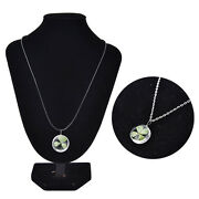 Real Green Lucky Shamrock Four Leaf Clover Round Pendant Necklace Friends Gin_ga