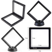 9090mm Black 3d Floating Jewelry Coin Display Frame Holder Box Case W/ Stand Ga