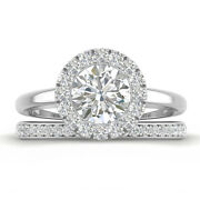 1.46ct D-si1 Diamond Halo Engagement Ring 18k White Gold Any Size