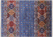 Super Kazak Khorjin Hand Knotted Wool Rug 5and039 7 X 7and039 10 - Q10098