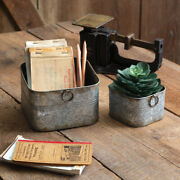 Galvanized Metal Small Square Buckets Set Of 2 Assorted Sizes Farmhouse