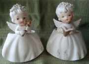 Set 2 -50and039s Inarco Christmas Angel Planter Girls Songbook /candle 5 1/2 E-1622