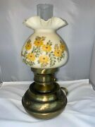 Vintage Fenton Hammered Colonial Brass Oil Lamp