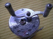Vintage Rare Casting Reel With Engraved Spider Web And Jeweled End Plates