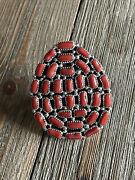Merle House Coral And Sterling Silver Cluster Adjustable Ring Size 7 Signed