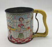 Vintage 1950s Androck  3 Screen Flour Sifter Mom/dad Andson/daughter Hand I Sift