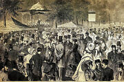 Music In Central Park Band Bandshell Victorian Afternoon 1869 Art Print Matted