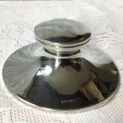 1923 Walker And Hall Solid Sheffield Silver Capstan Inkwell Good Hinged Lid. 194g