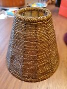 Vintage Small Beaded Candle 5 Bulb Lamp Shade Amber Beads Bell Shape