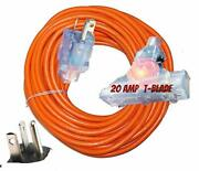 T-blade Extension Cord Extra Heavy Duty 10/3 Triple Outlet Extension Cord 10 ...