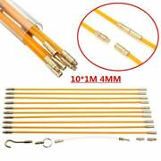 10andtimes Fiberglass Running Wire Cable Coaxial Electrical Pull Rod Fish Tape Kit 33