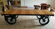 Antique Industrial Railway Cart Dining Conference Room Hit Miss Display Table