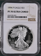 Pf70 Ucam 1994-p American Silver Eagle - Brown Label Ngc Spot Free White